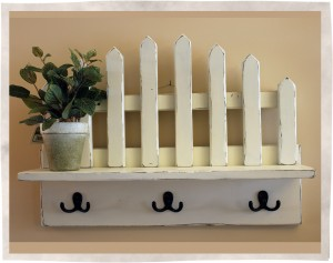 Picket shelf fence front