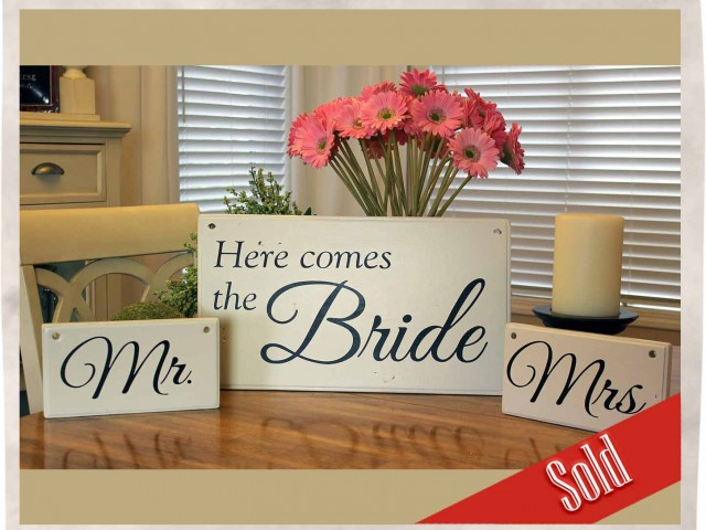 Elegant Wedding Signs (White)